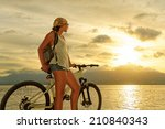 young woman with backpack... | Shutterstock . vector #210840343