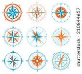 vector compass icon set | Shutterstock .eps vector #210844657