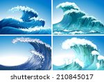 illustration of different waves | Shutterstock .eps vector #210845017