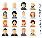 set of user avatar icons in... | Shutterstock . vector #210849547