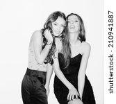 two beautiful girls having fun. ... | Shutterstock . vector #210941887