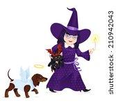 little girl dressed like witch... | Shutterstock .eps vector #210942043