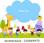 group of children and frame | Shutterstock .eps vector #210969973
