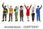 group of diverse multiethnic... | Shutterstock . vector #210974347