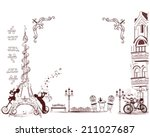 romantic eiffel tower decorated ... | Shutterstock .eps vector #211027687