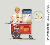 popcorn cart with seller  ... | Shutterstock .eps vector #211029703