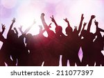 dancing people silhouettes | Shutterstock .eps vector #211077397