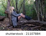 a young blond woman sit on a... | Shutterstock . vector #21107884