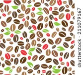 coffee beans with leaves... | Shutterstock .eps vector #211079167