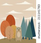 bear in the forest | Shutterstock .eps vector #211141783