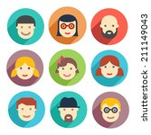 flat avatar icons  faces ... | Shutterstock . vector #211149043