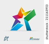 vector 3d colorful star logo...