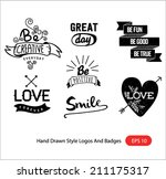 hand drawn style logos and... | Shutterstock .eps vector #211175317