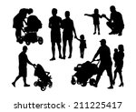 people and children silhouettes ... | Shutterstock .eps vector #211225417