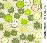 green citrus seamless pattern.... | Shutterstock .eps vector #211238347