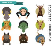 Animal avatars set with flat design. Vector Illustration