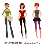 cute cartoon girl with various... | Shutterstock .eps vector #211286743