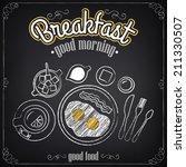 vintage poster. breakfast menu. ... | Shutterstock .eps vector #211330507