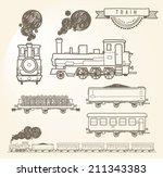 doodle train. eps8.   Shutterstock .eps vector #211343383
