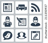 blog and blogger vector icons...   Shutterstock .eps vector #211350937
