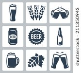beer related vector icons set | Shutterstock .eps vector #211350943