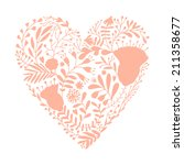 abstract hand drawn floral heart | Shutterstock .eps vector #211358677