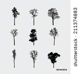 set of tree silhouettes. vector ... | Shutterstock .eps vector #211374883