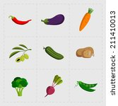 colorful vegetable icon set on... | Shutterstock . vector #211410013