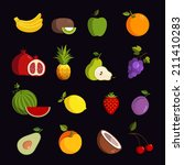 modern fruit vector icon set | Shutterstock . vector #211410283