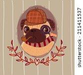 pug   sherlock holmes. portrait. | Shutterstock . vector #211411537