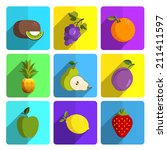 colorful fruit icon set on... | Shutterstock .eps vector #211411597