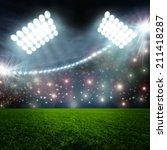 soccer ball on green stadium...   Shutterstock . vector #211418287
