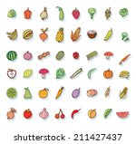fruit and vegetables icon set.... | Shutterstock .eps vector #211427437