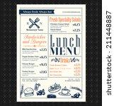 retro frame restaurant lunch... | Shutterstock .eps vector #211448887