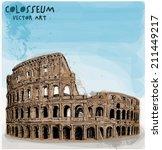 colosseum hand vector... | Shutterstock .eps vector #211449217