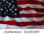 closeup of ruffled american flag | Shutterstock . vector #211451587