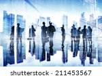 silhouettes of business people... | Shutterstock . vector #211453567