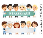doctors presenting empty... | Shutterstock .eps vector #211463917