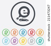 electric car sign icon. sedan... | Shutterstock .eps vector #211473247