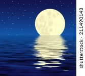 moon and his reflection in water   Shutterstock . vector #211490143