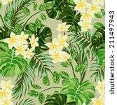 Seamless exotic  pattern with  tropical leaves and flowers on a beige background background. Vector illustration. - stock vector