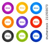 set of 9 hand drawn colorful... | Shutterstock . vector #211503073