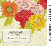 stylish floral invitation with... | Shutterstock .eps vector #211516843