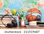 school accessories on desktop... | Shutterstock . vector #211519687