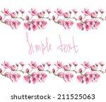 watercolor handmade horizontal... | Shutterstock . vector #211525063