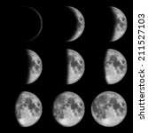 9 phases of the moon  lunar on... | Shutterstock . vector #211527103