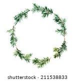 spruce wreath. watercolor | Shutterstock . vector #211538833