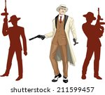 Caucasian mafioso godfather with a gun and armed crew silhouettes retro styled cartoon character with colored lineart