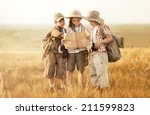three children with maps and... | Shutterstock . vector #211599823