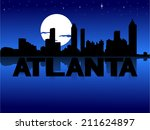 abstract,atlanta,city,cityscape,illustration,moon,night,reflected,reflection,silhouette,skyline,skyscrapers,stars,text